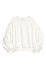 Balloon-sleeved top - White - Ladies | H&M GB 2