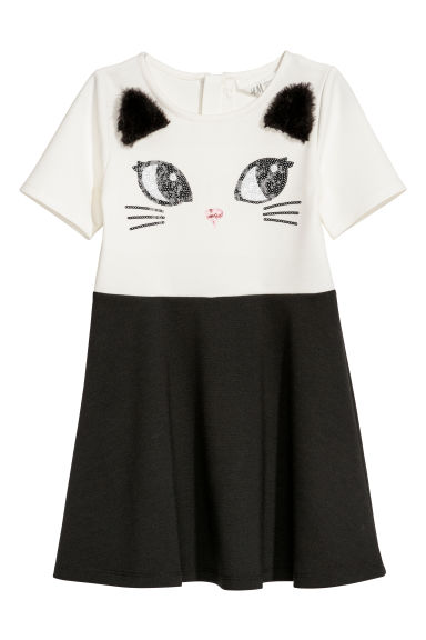 Dress with appliqués - White/Cat - Kids | H&M