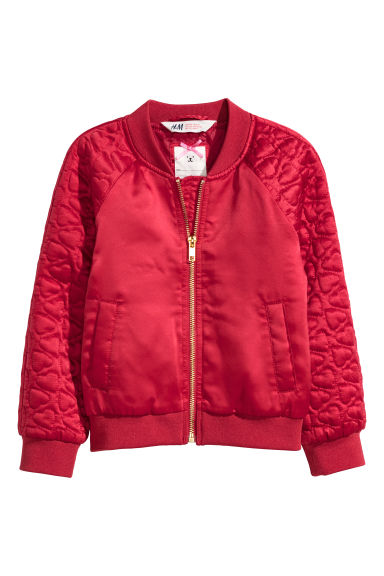 Padded bomber jacket - Red - Kids | H&M CN