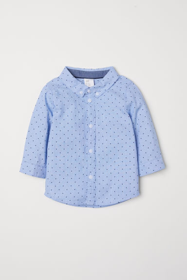 Cotton shirt - Light blue/Spotted - Kids | H&M CN