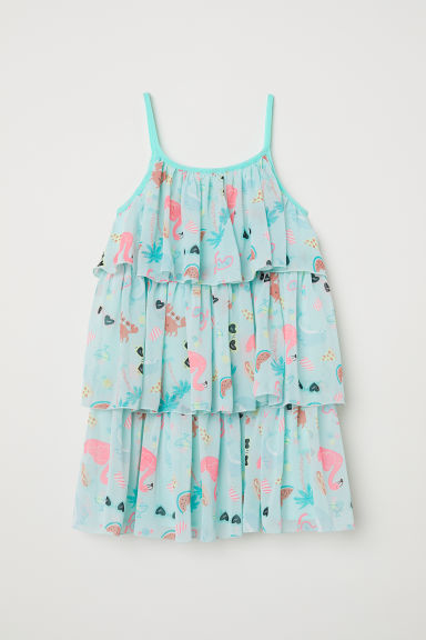 Printed tiered dress - Light green/Patterned - Kids | H&M CN