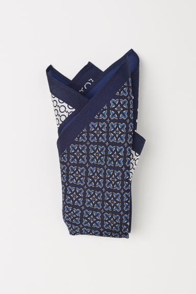 Patterned silk handkerchief - Dark blue - Men | H&M CN