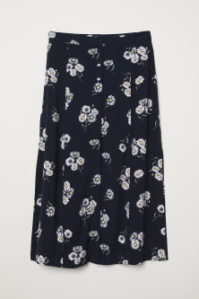 Calf-length Viscose Skirt