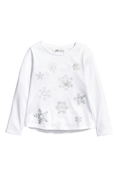 Jersey top with a motif - White/Snowflakes - Kids | H&M CN