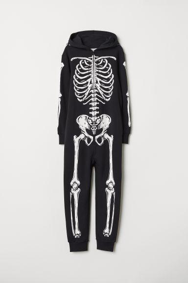 Sweatshirt all-in-one suit - Black/Skeleton - Kids | H&M GB