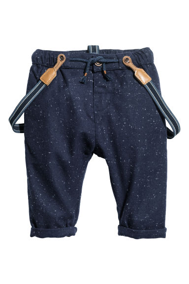 Trousers with braces - Dark blue/Spotted - Kids | H&M