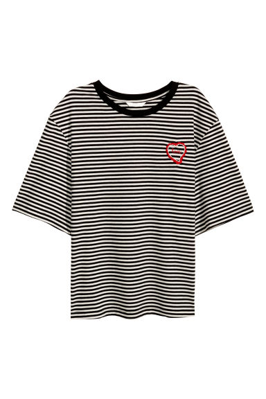 Wide T-shirt - Black/White striped - Ladies | H&M CN 1