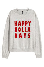 Printed sweatshirt - Light grey marl - Ladies | H&M CN 2