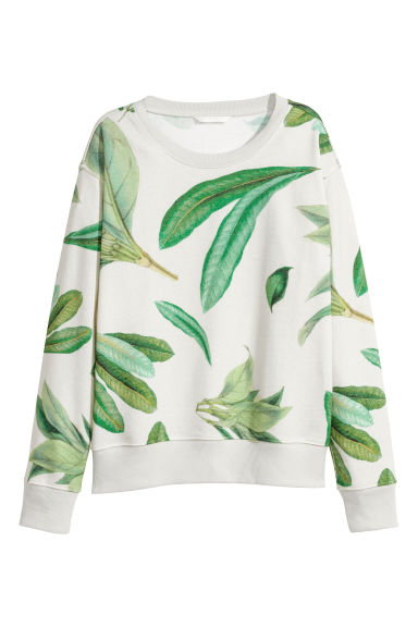 Short sweatshirt - Light beige/Patterned -  | H&M