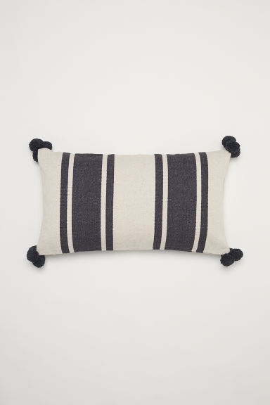 Textured-weave cushion cover - Dark grey/Striped -  | H&M GB