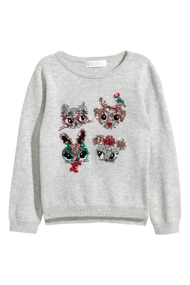 Sequined jumper - Light grey/Animals - Kids | H&M CN