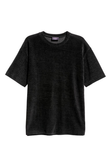 T-shirt in velour - Nero - UOMO | H&M IT