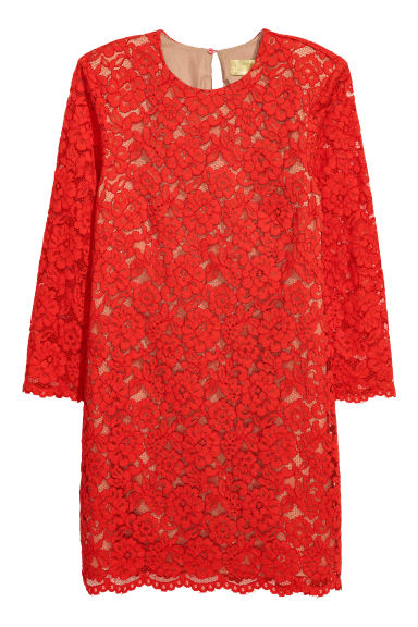 Short lace dress - Red -  | H&M