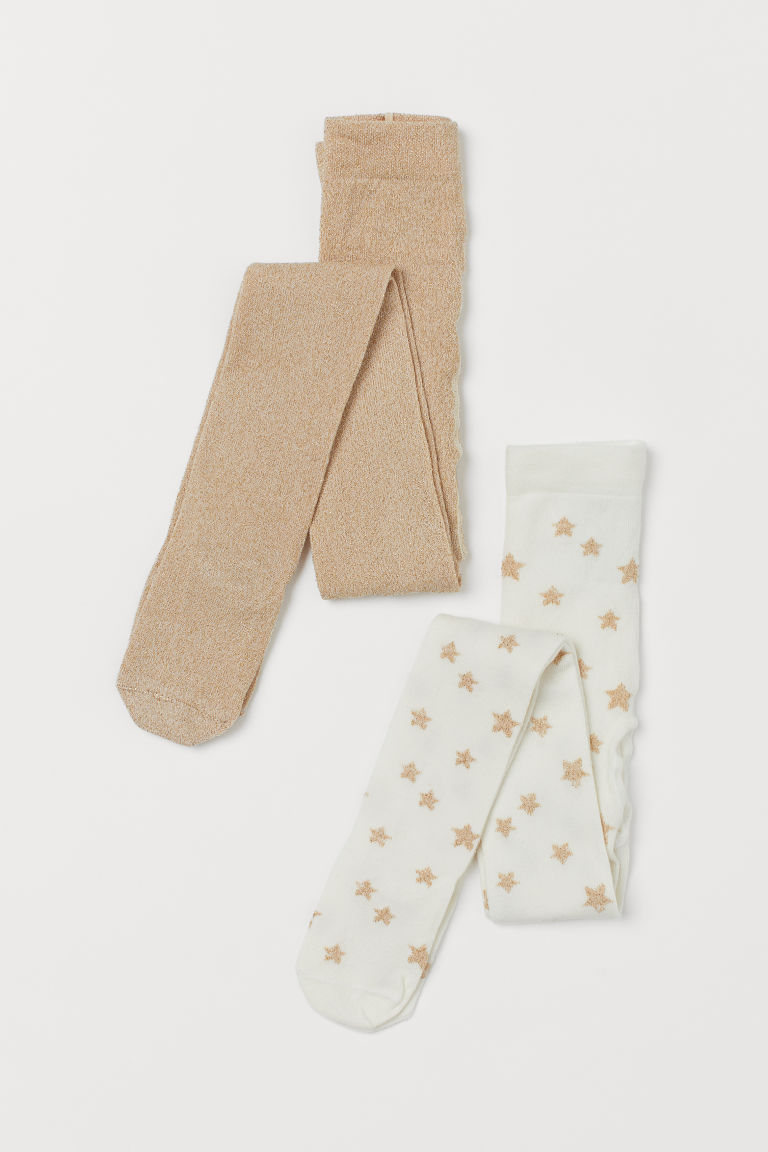 2-pack fine-knit tights - White/Glittery - Kids | H&M GB
