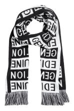 Jacquard-knit scarf - Black/White - Men | H&M 1