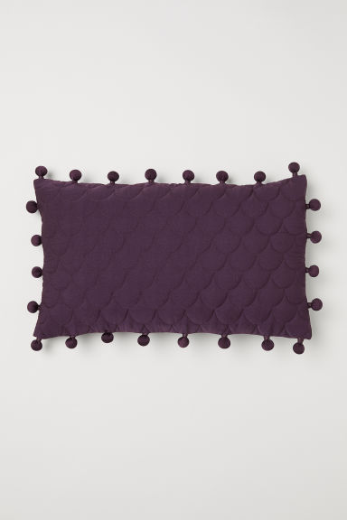 Cushion cover with pompoms - Dark purple - Home All | H&M CN