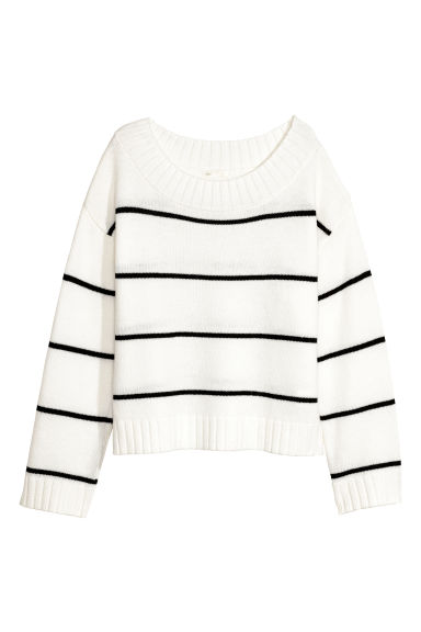 Knitted jumper - White/Striped - Ladies | H&M IE 1