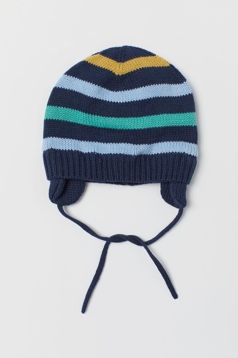 Knitted cotton hat - Dark blue/Striped - Kids | H&M GB