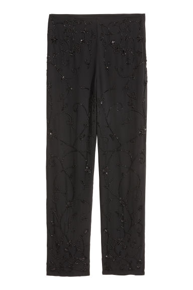 Beaded trousers - Black - Ladies | H&M