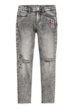 Pantalon en twill Skinny fit - Gris washed out/fleurs - ENFANT | H&M BE 2