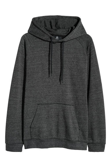 Hooded top with raglan sleeves - Black marl -  | H&M