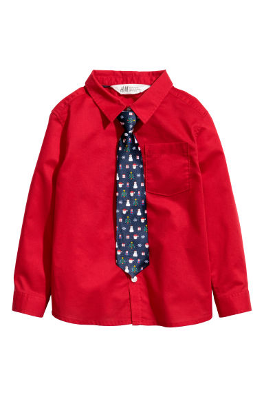 Shirt with a tie/bow tie - Red/Tie -  | H&M