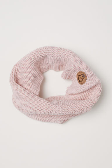 Knitted tube scarf - Light pink - Kids | H&M CN