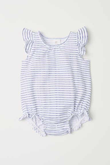 Frilled jersey bodysuit - White/Striped - Kids | H&M CN