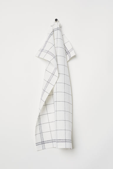 Linen-blend tea towel - White/Grey checked - Home All | H&M CN