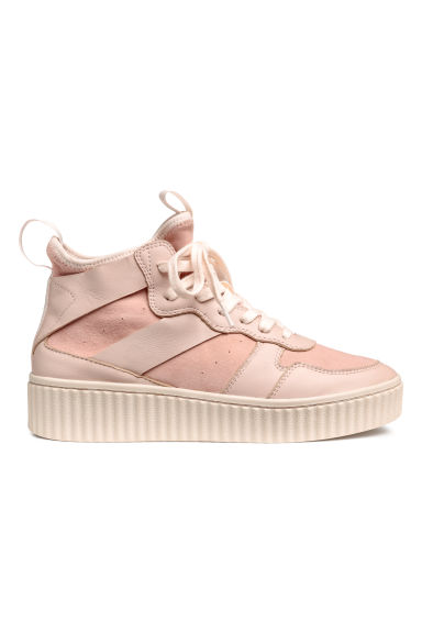 Leather and suede hi-tops - Powder pink - Ladies | H&M