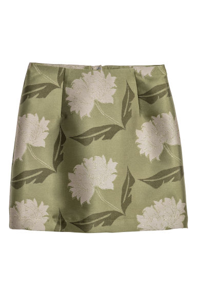 Jacquard-patterned skirt - Green/Floral -  | H&M
