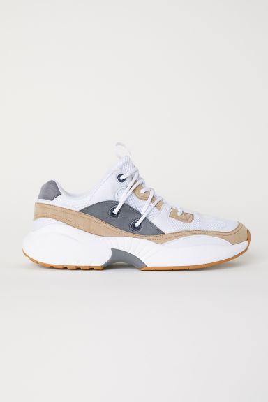 Mesh trainers - White/Beige - Men | H&M