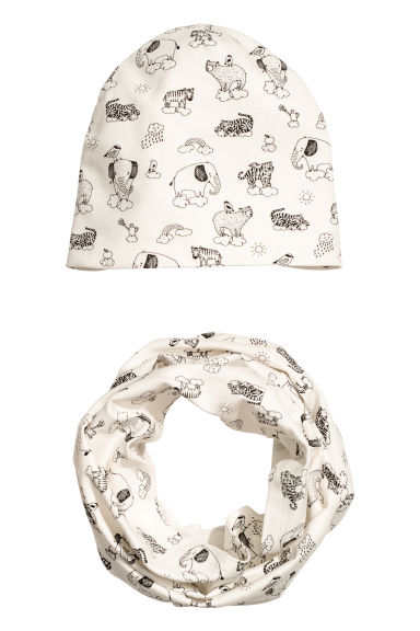 Hat and tube scarf - White/Animals - Kids | H&M