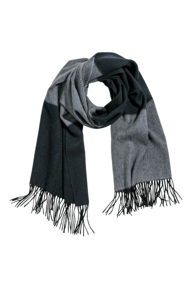 Block-patterned wool scarf - Dark blue/Grey marl - Men | H&M