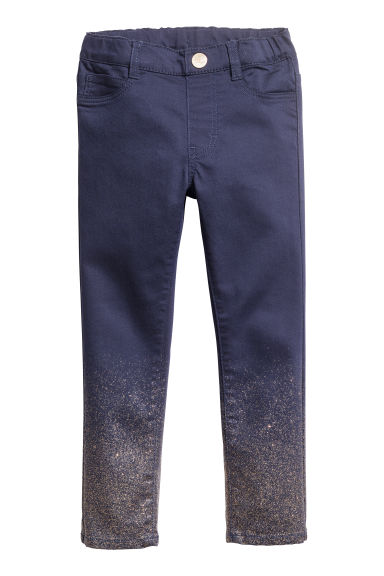 Treggings in twill - Blu scuro/glitter - BAMBINO | H&M IT