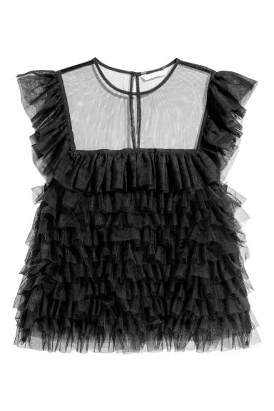 Tulle frilled top - Black -  | H&M GB