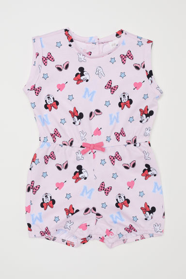 Jersey jumpsuit - Light pink/Minnie Mouse - Kids | H&M CN