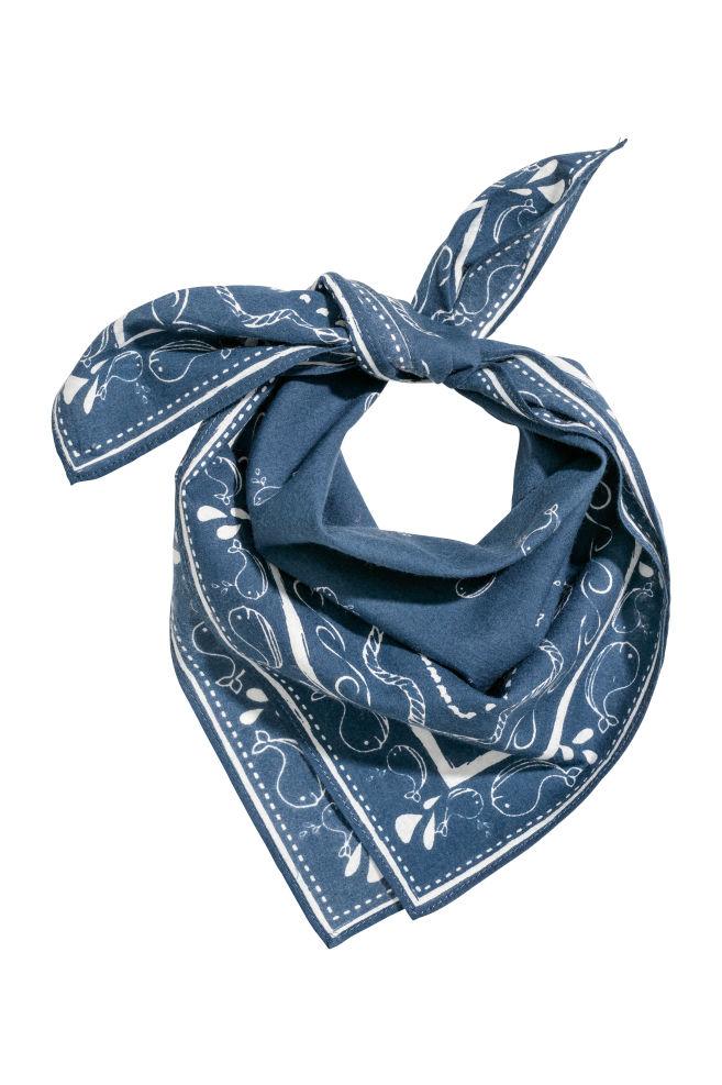 Patterned scarf - Dark blue - Kids | H&M GB 1