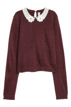 Lace-collared jumper - Burgundy - Ladies | H&M 2