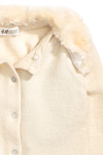 Cardigan with faux fur collar - Natural white - Kids | H&M CN 3