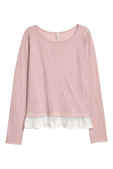 Lace-hem top - Light powder pink - Ladies | H&M