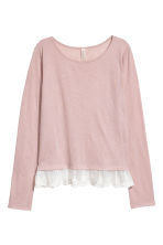 Lace-hem top - Light powder pink - Ladies | H&M CN 2