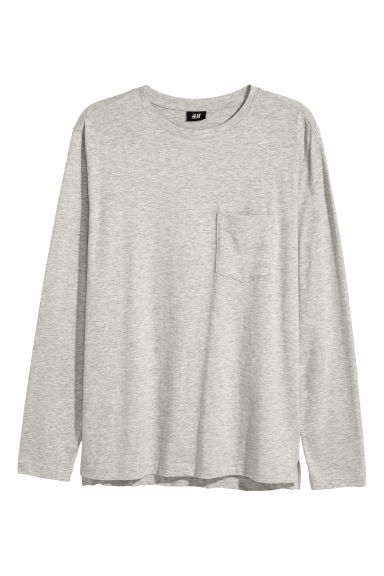 Long-sleeved jersey top - Grey marl -  | H&M