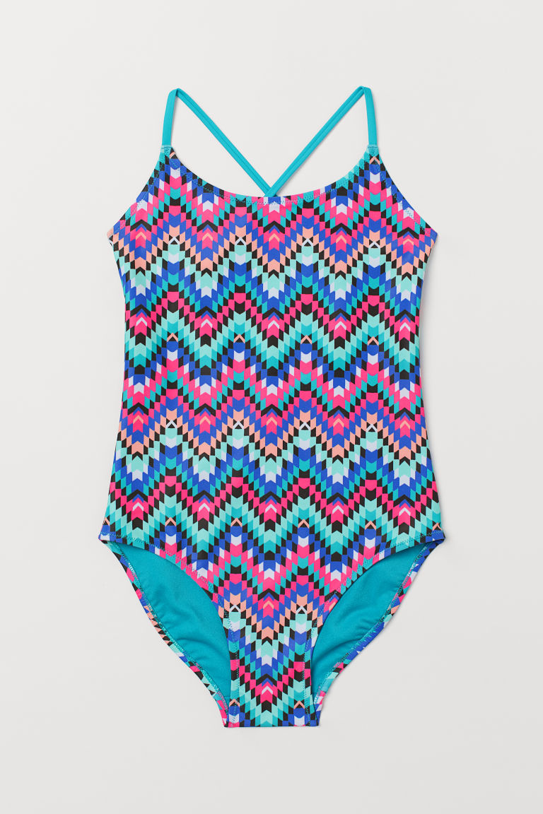Patterned swimsuit - Turquoise/Patterned - Kids | H&M GB