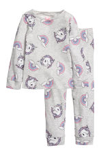 Jersey pyjamas - Light grey marl/Unicorns -  | H&M 1