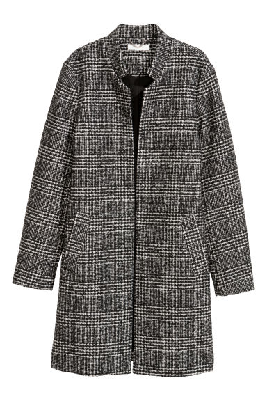 Short coat - Black/Checked - Ladies | H&M GB 1