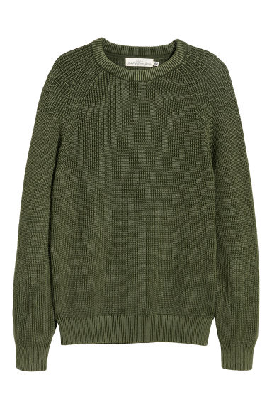 Washed cotton jumper - Khaki green - Men | H&M CN