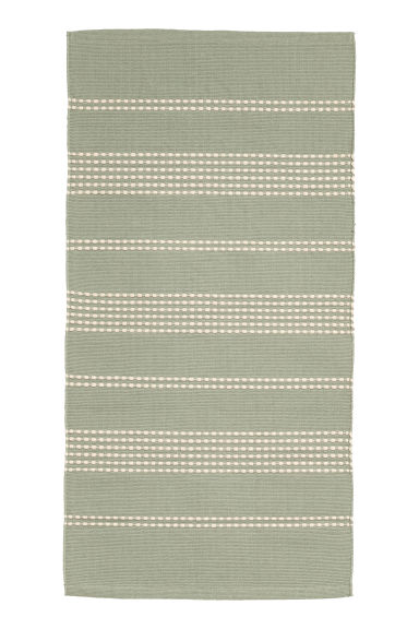 Textured striped cotton rug - Dusky green/Natural white - Home All | H&M CN