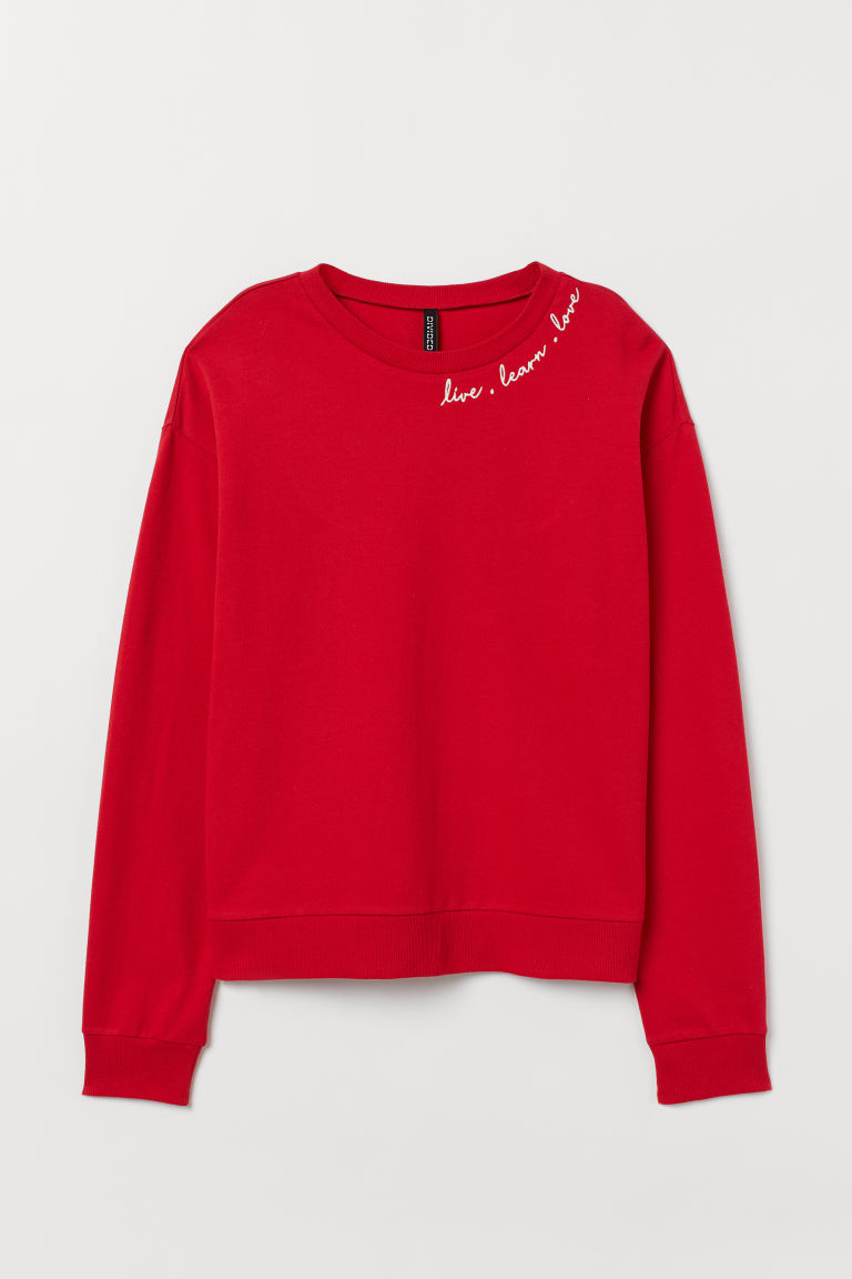 Sweatshirt - Red/Live, Learn, Love -  | H&M GB