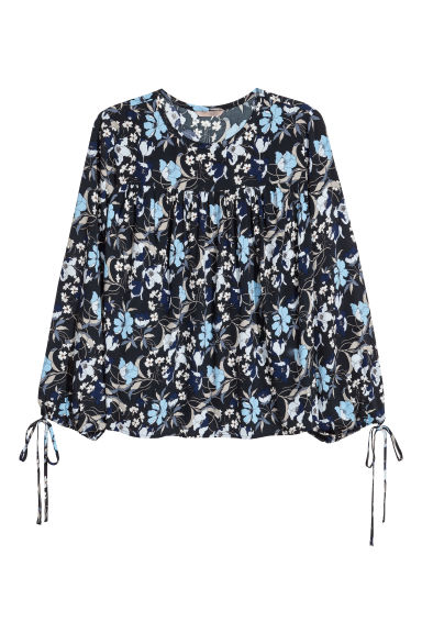 H&M+ Patterned blouse - Dark blue/Floral - Ladies | H&M CN
